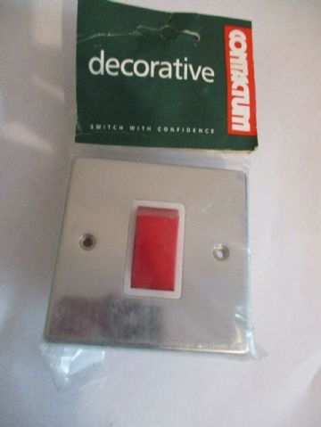 CONTACTUM S3756PCW 45 AMP DP RED SWITCH POLISHED CHROME